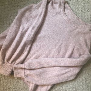 Madewell pink ballooned sleeve sweater